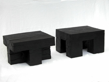Divided block bedside tables