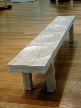 Whitened oak restless bench