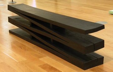 Scorched oak springboard bench