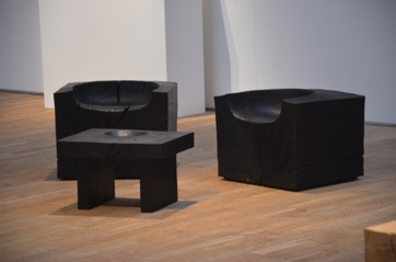 Pair of deep block seats and bowl table