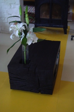 Square coffee table with vase holder